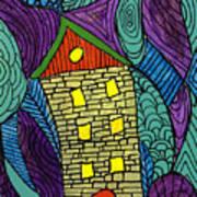 Crooked Yellow Brick House Art Print
