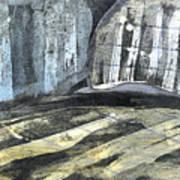 Crops And Clouds Original Wax Encaustic Painting Art Print