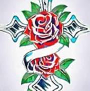Cross And Roses Tattoo Art Print