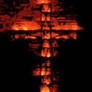Cross On Fire Art Print