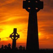 Crosses At Sunset Art Print