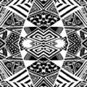 Crossroads To Ornamental - Abstract Black And White Graphic Drawing Art Print