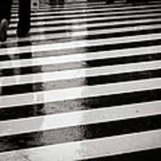 Crosswalk In Rain Art Print by photo by Jason Weddington