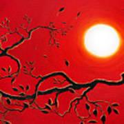 Crow In Crimson Sunset Art Print