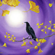 Crow In Ginkgo Leaves Art Print
