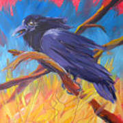 Crow In The Grass 5 Art Print