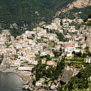 Crowded Slopes Of Amalfi Art Print