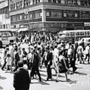 Crowded Street, Nyc, C.1960s Art Print