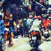 Crowded Street Art Print