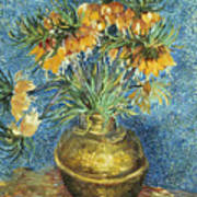 Crown Imperial Fritillaries In A Copper Vase Art Print