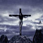 Crucifixion On The Mountain Art Print