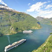 Cruise In Geiranger Fjord Norway Art Print
