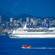 Cruise Ship In Vancouver Art Print