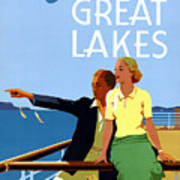 Cruise The Great Lakes Vintage Travel Poster Art Print