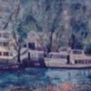 Cruiseboat On Rhine River Germany Art Print
