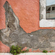 Crumbled Plaster Of An Orange Wall, Reflection Of A Boat In The Window Art Print