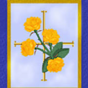 Crusader Cross And Four Gospel Roses Art Print