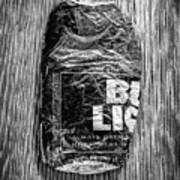 Crushed Blue Beer Can On Plywood 78 In Bw Art Print