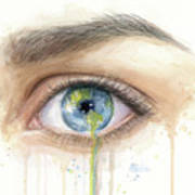 Earth In The Eye Crying Planet Art Print