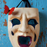 Crying Mask And Red Butterfly Print by Garry Gay