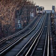 Cta Train Approaching Damen Avenue Station Chicago Illinois Art Print