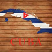 Cuba Rustic Map On Wood Art Print
