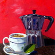 Cuban Coffee And Lime Red Art Print by Maria Soto Robbins