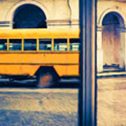 Cuban School Bus And Driver Art Print