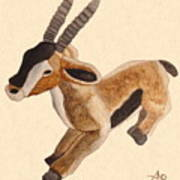 Cuddly Gazelle Watercolor Art Print
