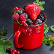 Cup Of Fresh Berries Art Print