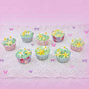 Cupcakes And Butterflies Art Print
