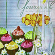 Cupcakes And Gaufrettes Beside A Candle Art Print