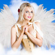 Cupid Angel Of Love Flying High With Fairy Wings Art Print