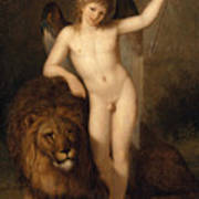 Cupid With A Lion Art Print
