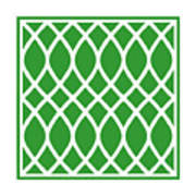 Curved Trellis With Border In Dublin Green Art Print