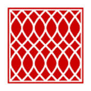 Curved Trellis With Border In Red Art Print