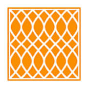 Curved Trellis With Border In Tangerine Art Print