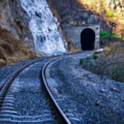 Curves On The Railways At The Entrance Of The Tunnel Art Print