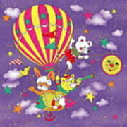 Cute Animals In Air Balloon Art Print