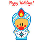 Cute Art - Happy Holidays Folk Art Sweet Angel Bird In A Nesting Doll Costume Wall Art Print Art Print