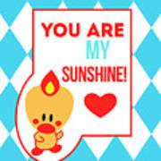 Cute Art - Sweet Angel Bird Blue You Are My Sunshine Circus Diamond Pattern Wall Art Print Art Print