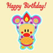 Cute Art - Sweet Angel Bird In A Bear Costume Holding An Apple Pie Happy Birthday Wall Art Print Art Print