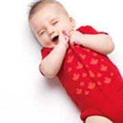 Cute Baby Boy Yawning Art Print