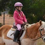 Cute Girl On Horse 2 Art Print