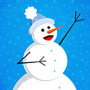 Cute Happy Snowman Art Print