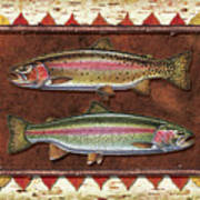 Cutthroat And Rainbow Trout Lodge Art Print by JQ Licensing