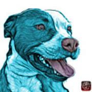 Cyan Bull Fractal Pop Art - 7773 - F - Wb Art Print