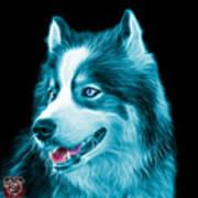 Cyan Modern Siberian Husky Dog Art - 6024 - Bb Art Print