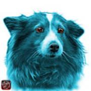 Cyan Shetland Sheepdog Dog Art 9973 - Wb Art Print
