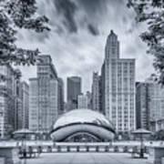 Cyanotype Anish Kapoor Cloud Gate The Bean At Millenium Park - Chicago Illinois Art Print